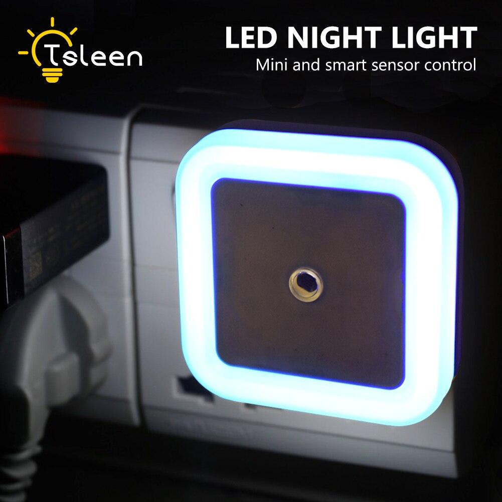 LED Night Light Lamp Lux Sensor Control Auto Baby Room Bedroom Automate Wall Bedside Light 4 Colors EU US Plug Wall Lamp