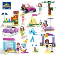 Kazi Elementary Toys Summer Beach Building Blocks Set For Girl Learning Education Dune Buggy And Speed Boat Miniature Playmobil