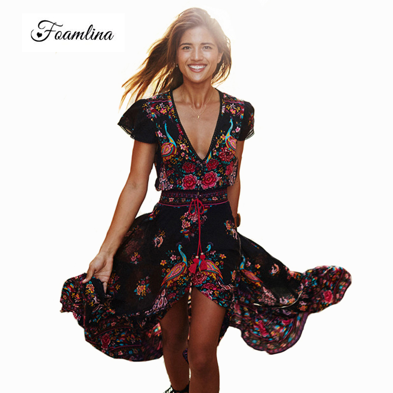 Summer Women Dress Ethnic Boho Dress Sexy Floral Print Retro Vintage Dress V-neck Short Sleeve Bohemian Long Dress Robe Vestidos