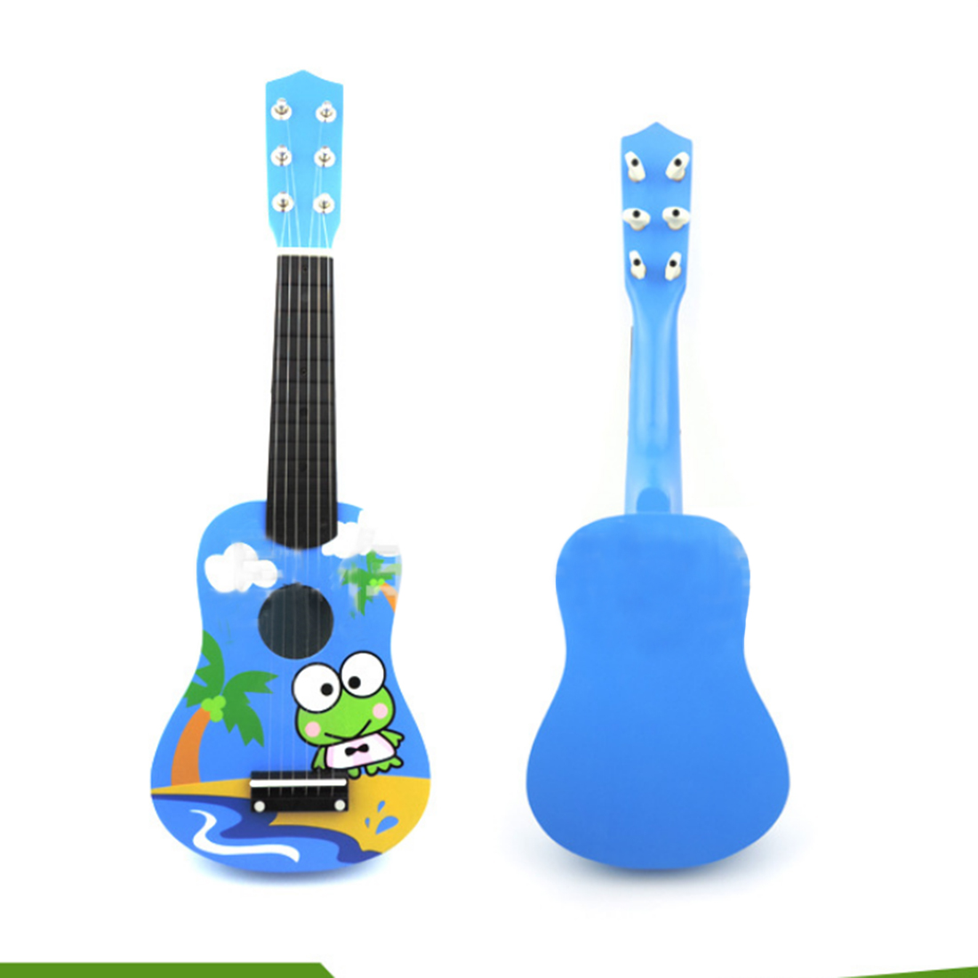 21 Inch Cute Cartoon 6 String Mini Wooden Guitar Kids Musical Instruments Educational Toy diecasts mini cute cartoon cars knowledge of traffic educational