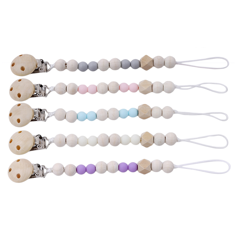 Wooden Pacifier Clips DIY Baby Pacifier Clips Funny Baby Pacifier Chain Holder For Infant Teething Attache Sucette Dummy Clip