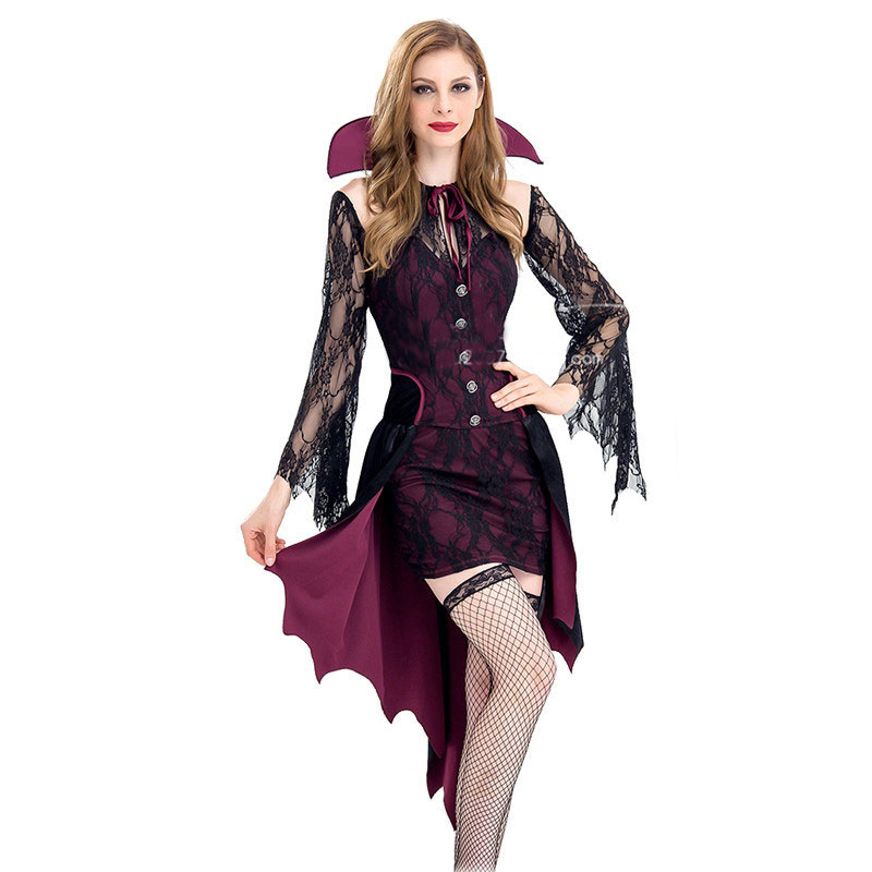 Umorden Carnival Party Purim Halloween Spider Vampire Queen Costumes Cosplay Dress Game Uniform for Adult Women M XL