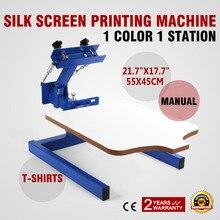 лучшая цена USA Free Shipping ! VEVOR Screen Printing Machine 1 Color 1 Station Silk Screen Printing Machine for T-Shirt DI