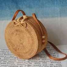 2019 Fashion Round Straw Bags Summer Style Women Handbags Bohemian Rattan Crossbody Bags Handmade Woven Beach Circular Bags(China)