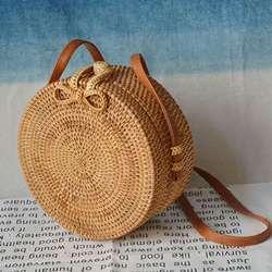 2019 модные круглые соломенные сумки Летний стиль женские сумки богемные Ротанговые сумки через плечо ручной работы Тканые Пляжные круговые