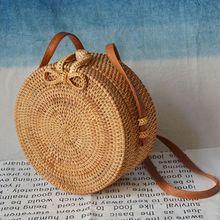 2019 Straw Handbag Hand Woven Round Bamboo Bag Bohemian Rattan Crossbody Bags For Women Beach Style Circular Shoulder Bags