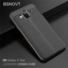 For Samsung Galaxy J7 Duo Case Silicone PU Leather Shockproof Cover J720F