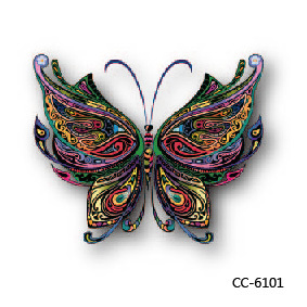 CC6101 6X6cm Little Cheapest Colorful 3D Butterfly HD Temporary Tattoo Sticker Body Art Water Transfer Fake Taty For Face