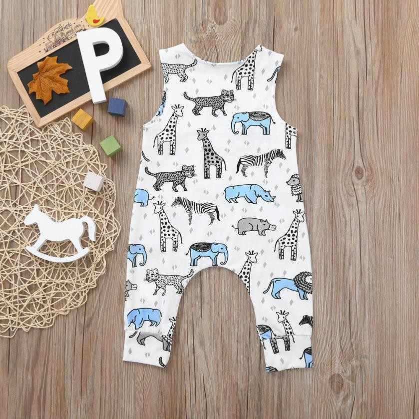 MUQGEW הדפסת יילוד חמוד תינוק בני בנות כחול קריקטורה ורוד דינוזאור כחול Romper סרבל תלבושות Bebek giyim 2018
