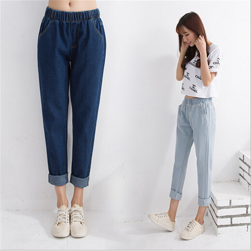 Women New Casual Fashion Personality Elastic Waist Casual Denim Harem Pants Big Yards Washed