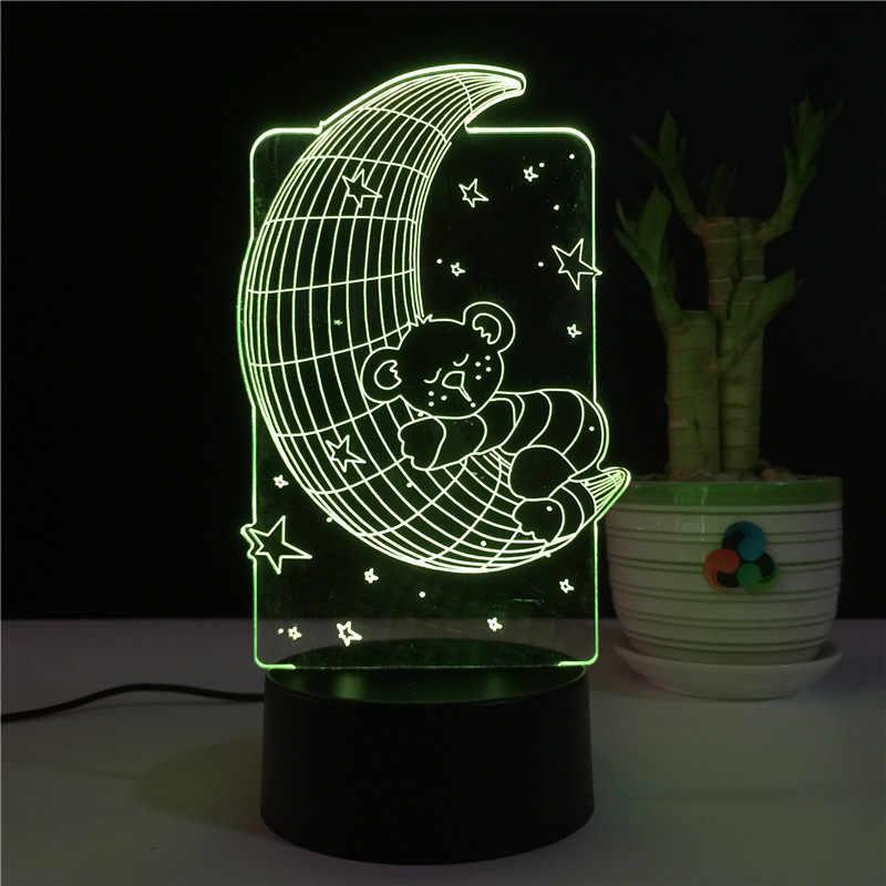 2019 mais recente Urso Lua 3D USB Quarto lâmpada de Cabeceira Lâmpada Visão Estéreo 7 Cores Mudando A luz Da Noite Criativo luz da Mesa de Acrílico