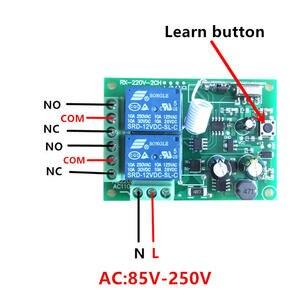 Image 2 - 433 Mhz מתג שלט רחוק אלחוטי אוניברסלי AC 85 V ~ 250 V 110 V 220 V ממסר 2CH מקלט מודול RF 433 Mhz שלט רחוק