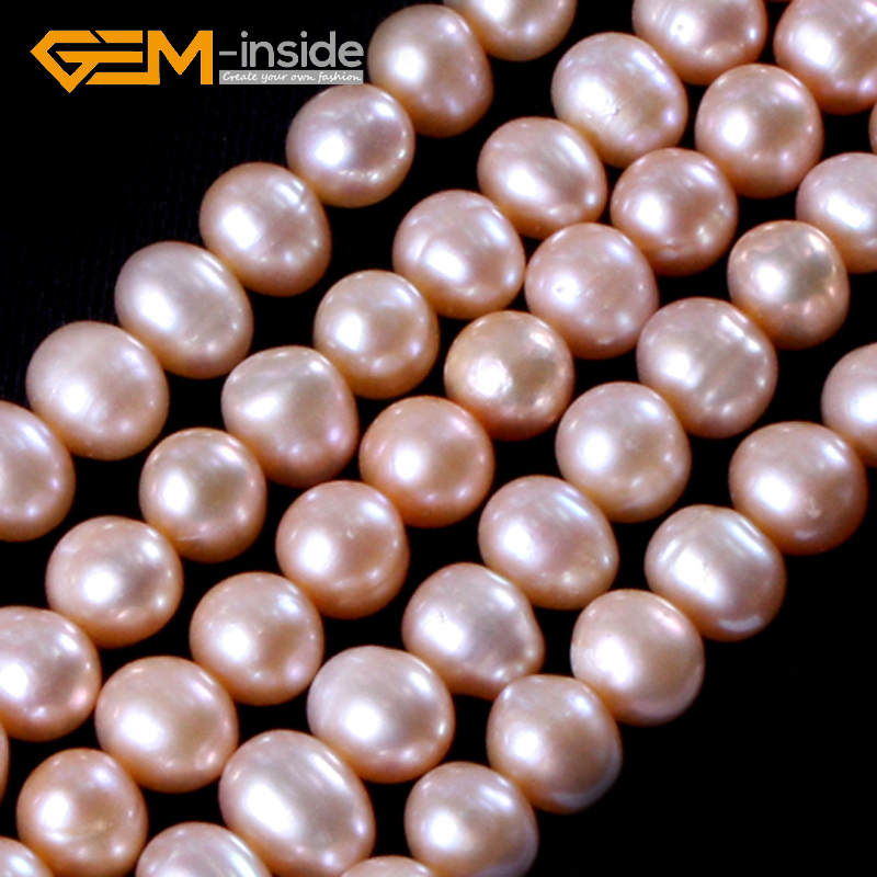 7-8mm Wholesale Natural Nearround Freshwater Pearl Beads For Jewelry Making Necklace 15inches DIY Jewellery Free Shipping