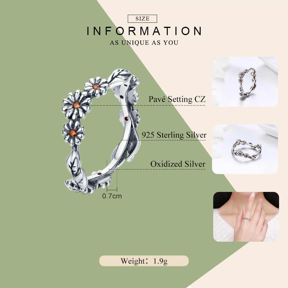 BAMOER מכירה לוהטת 100% 925 סטרלינג כסף מעוות דייזי פרח נשי אצבע טבעות נשים חתונת כסף תכשיטי אנל SCR298