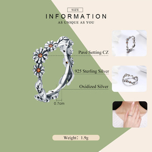 Image 3 - BAMOER Hot Sale 100% 925 Sterling Silver Twisted Daisy Flower Female Finger Rings for Women Wedding Silver Jewelry Anel SCR298