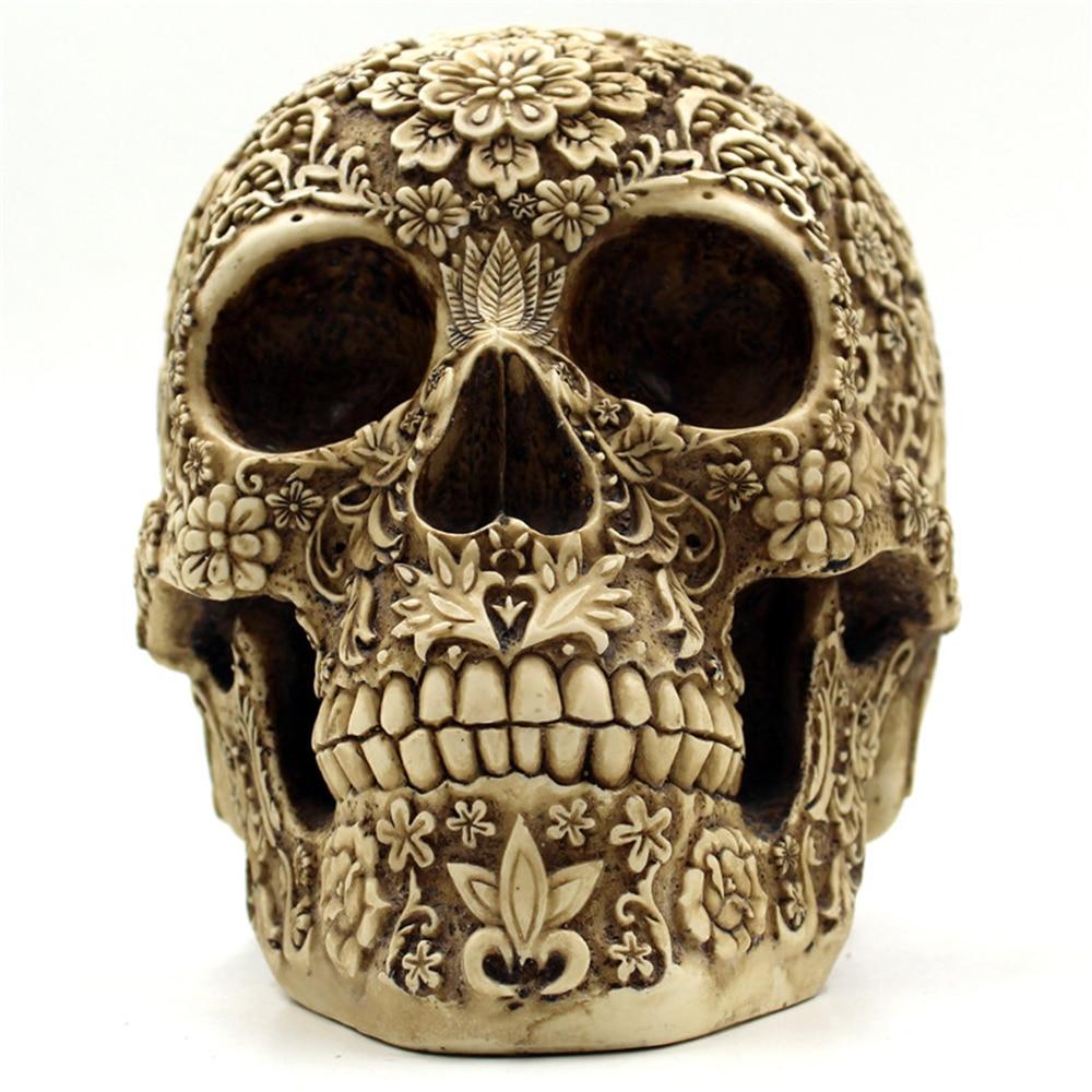 Halloween skulls decoration - Aliexpress Com Buy Halloween Decoration Resin Skull Head Figurines Hallowmas Skull Display Flowers Pattern Retro Figurines Miniatures Skulls Props From