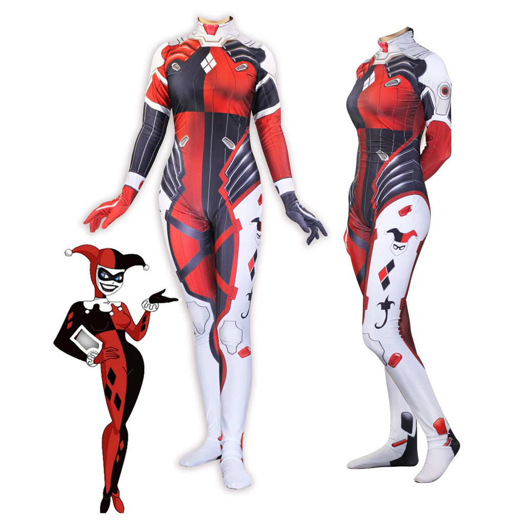 harley quinn costume women adult sexy hero Clown cosplay Spandex full bodysuit party halloween costumes for women
