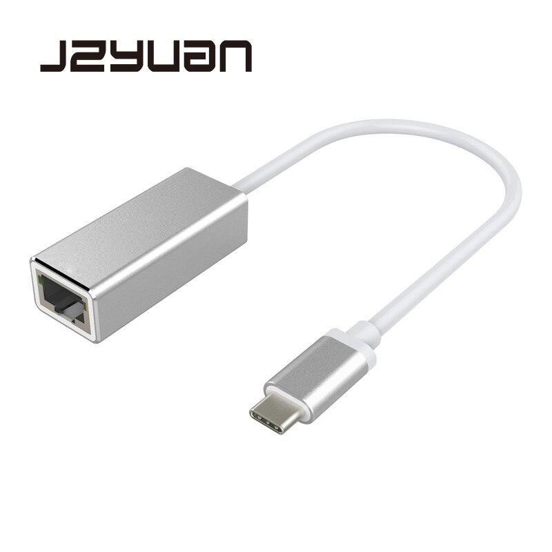 JZYuan USB C 3.1 Gigabit Ethernet Rj45 Lan Adaptateur USB Type C à USB 3.0 HUB 10/100/1000 Carte Réseau pour MacBook ChromeBook