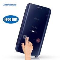Leanonus S8 S8 + Intelligent IC Puce Flip Cas Effacer Cover Miroir effet PU Étui En Cuir Pour Samsung Galaxy S8 S8Plus S8 + Couverture cas