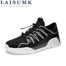 2019 LAISUMK Spring Summer Casual Shoes Mens Mesh Sneakers For Men Lace-Up Brand Fashion Lace up Breathable