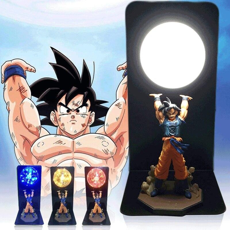 Actions Figure Dragon Ball Chambre Lampe Décorative Fils Goku Super Saiyan Chiffres Led Lumière Goku Figure DBZ Led Ampoule Table lumière
