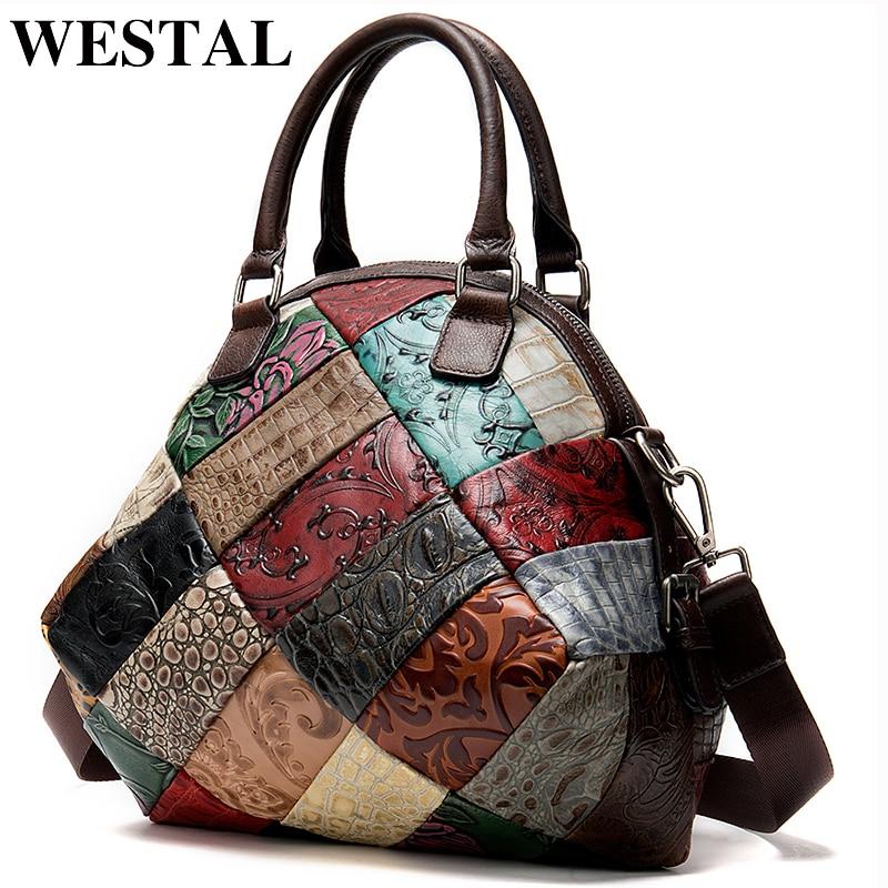 WESTAL Women's Bag Genuine Leather Luxury Handbags Women Bags Designer Patchwork Messenger Women's Shoulder Bag Leather Handbags