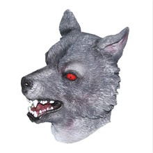 Realistic Halloween Adult Mask Horror Ferocious Animal Dog Latex Wolf Mask latex wolf mask toy for halloween black