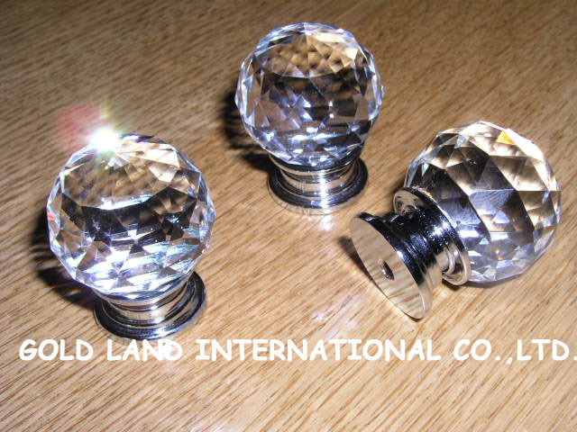D30mm Free shipping wholesale 100pcs/lot  crystal glass furniture cabinet knobs