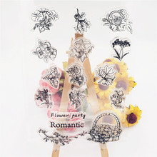 JC Clear Rubber Stamps for Scrapbooking Romantic Flowers Silicone Seals Craft Stencil Album Decoration Card Making Sheet
