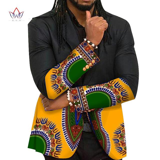 Custom Mens Ropa Africana Bazin Ricos Hombres Blazers Chaquetas Chaquetas de Mezclilla Hombres Algodón Dashiki Imprimir Mens Ropa 6XL BRW WYN177