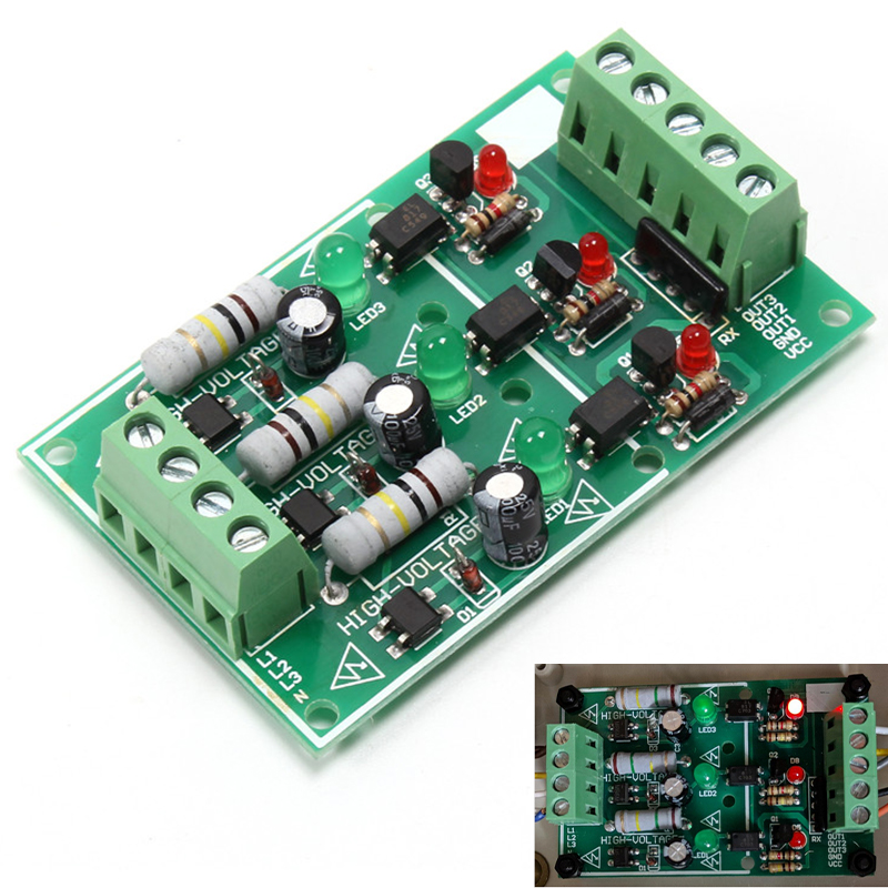 3 Channel Optocoupler Isolation Module AC 220V Isolated Board Testing Module No PCB Holder AC Detection Module