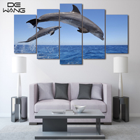 5 Piece Canvas Printed Decoration Wall Art Paintings Posters And Prints Dolphin Ocean Seascape Canvas Painting For Kids Room