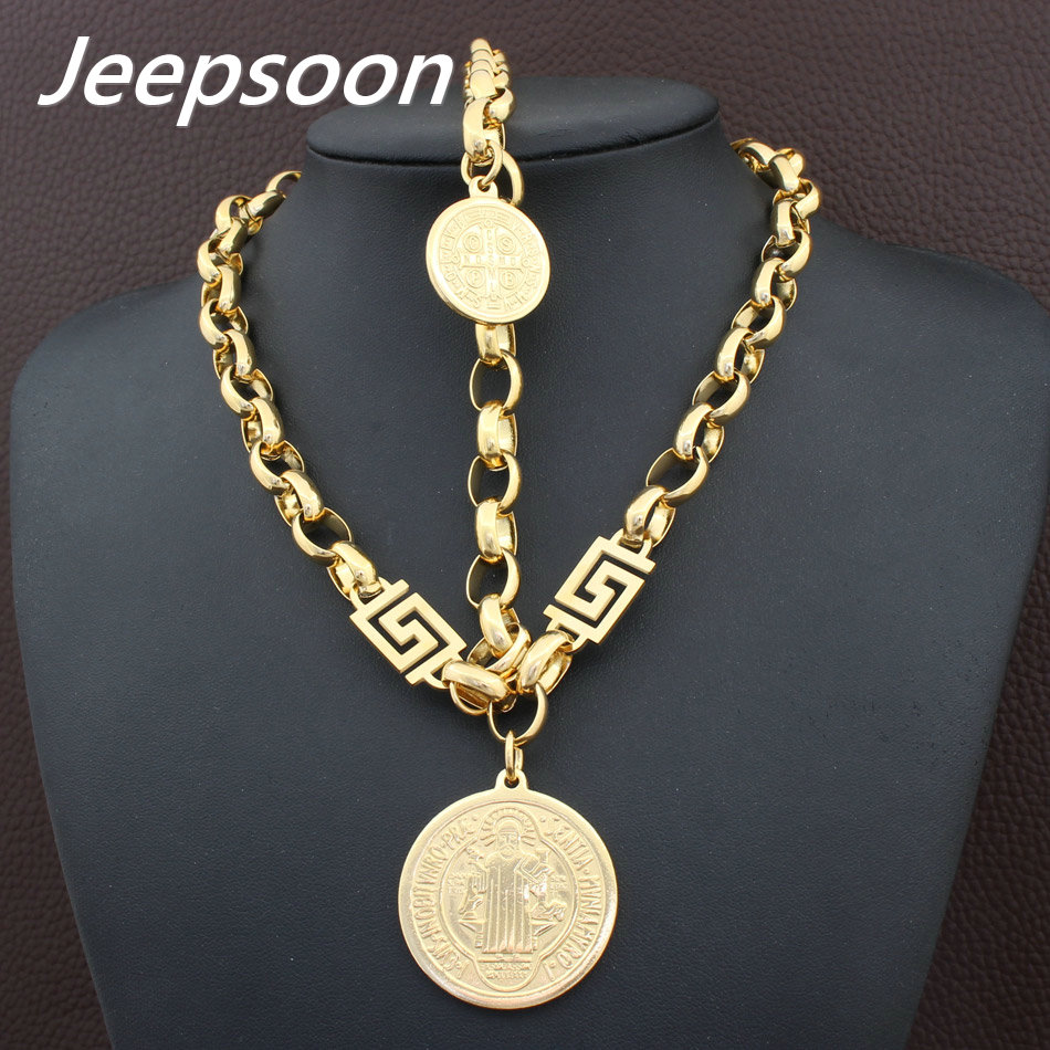 Hot Sell Wholesale Newest Fashion Stainless Steel Metal Silver and gold color Necklace And Bracelet Jewelry Set SFKGBWCA