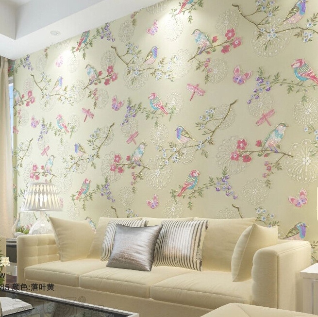 Superieur Modern Bird Wallpaper Home Decor Flower Wall Paper Non Woven Wallpaper 3D  Background Wallpaper Living Room Mural Wallpaper Roll In Wallpapers From  Home ...