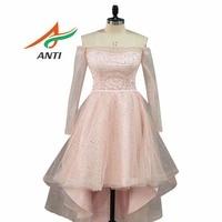 ANTI 2018 Elegant Strapless Homecoming Dresses Sequin A Line Above Knee Mini Vestido 15 Ano Curto