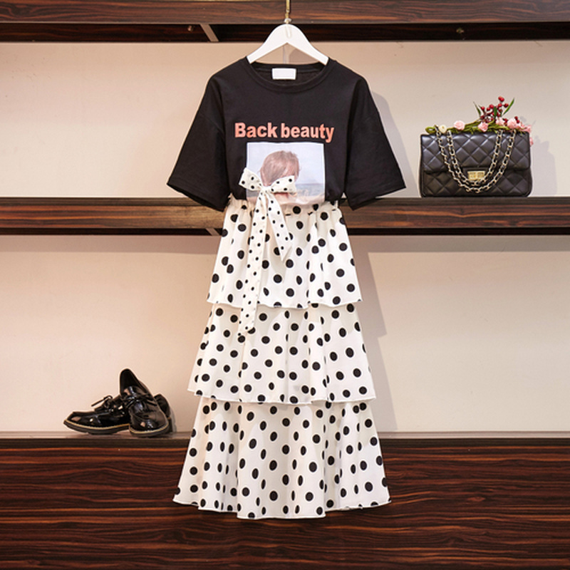 Special Design Women Summer Sets Letter Pattern Bow Tie T Shirt And Polka Dot Loose Long Ruffled Skirt Sets Sweet Girls Clothes 44