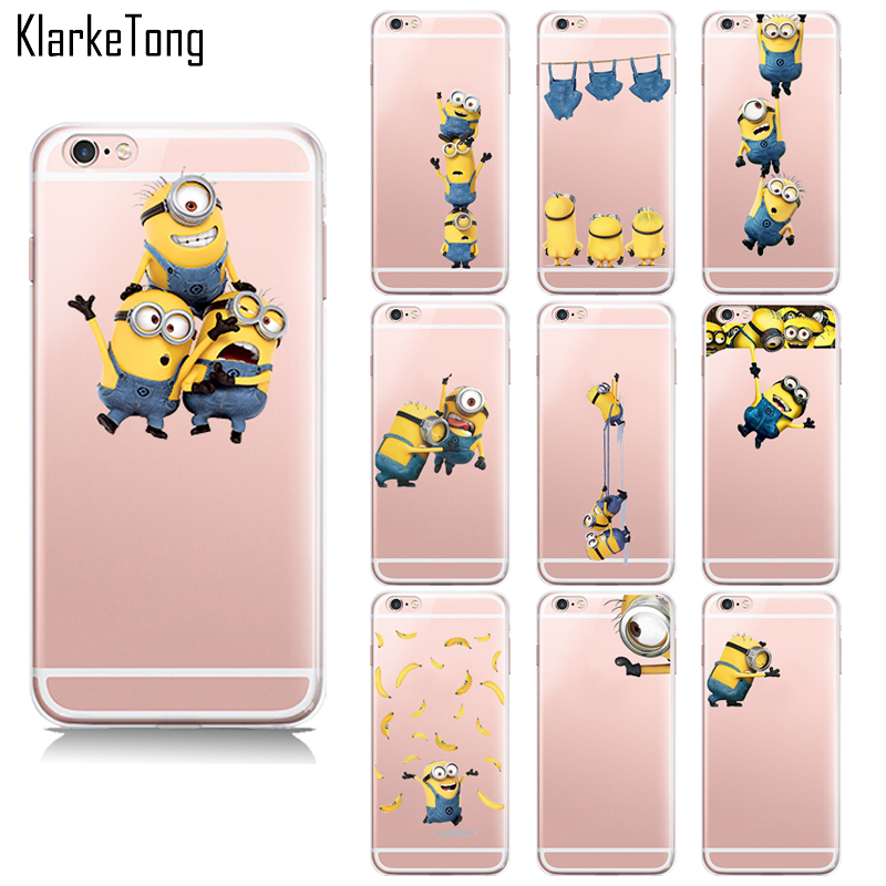 New Cute Cartoon Despicable Me 2 Yellow Minions Case For Apple iPhone 6 6s transparent Soft Silicone cell phone cases back cover