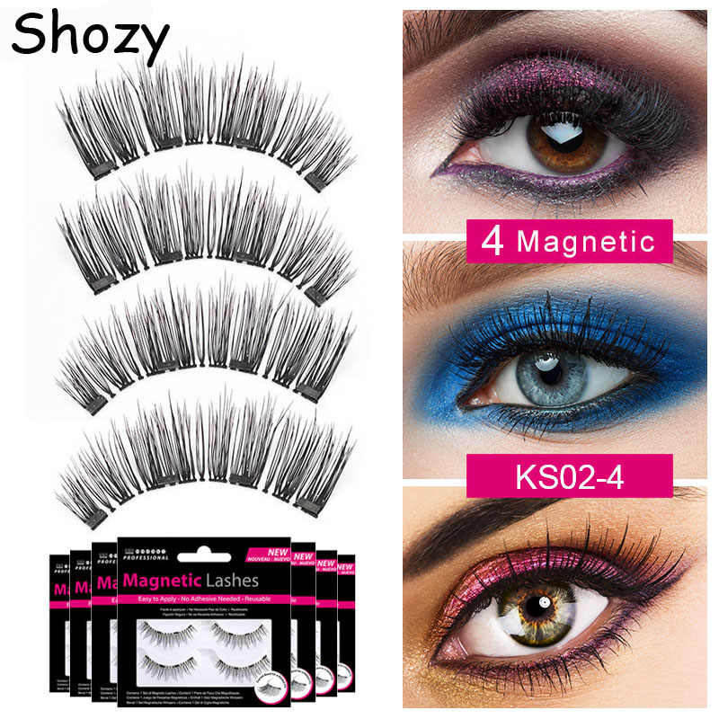 93e9f68464d Shozy Magnetic eyelashes with 4 magnets handmade 3D magnetic lashes natural false  eyelash magnet lash with