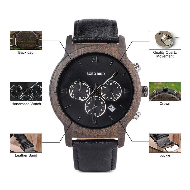 Drewniany zegarek Bobo Bird Luxury P28-1 tarcza