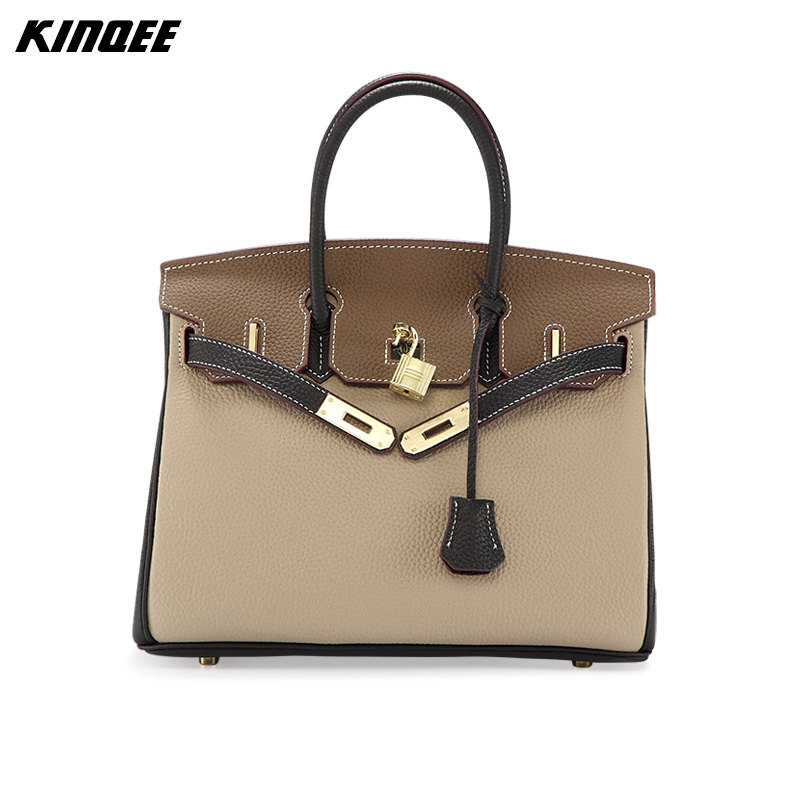 KINQEE Brand Patchwork Genuine Cow Leather Messenger Bags  Women 2017 New Arrivals Beige Casual Designer Handbags High Quality genuine leather messenger bags cow