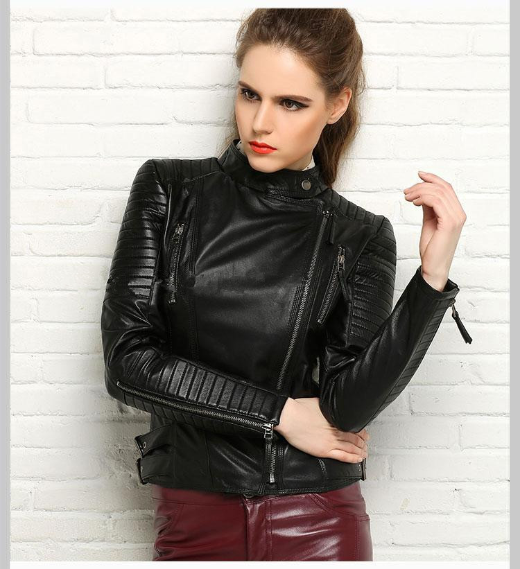100% Real Sheepskin Coat Female Genuine Leather Jacket Short Slim Jackets For Women Outerwear 11