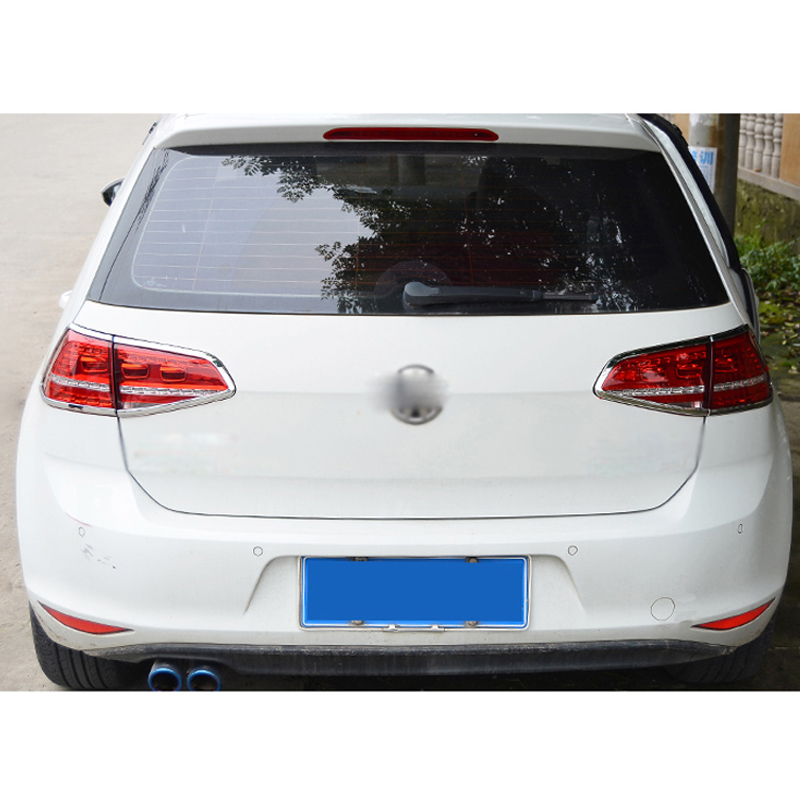 For Volkswagen VW Golf 7 2014 2015 2016 2017 ABS Chrome Rear Taillight Sticker Tail Light Lamp Cover Trim Shade Hood 4Pcs/set