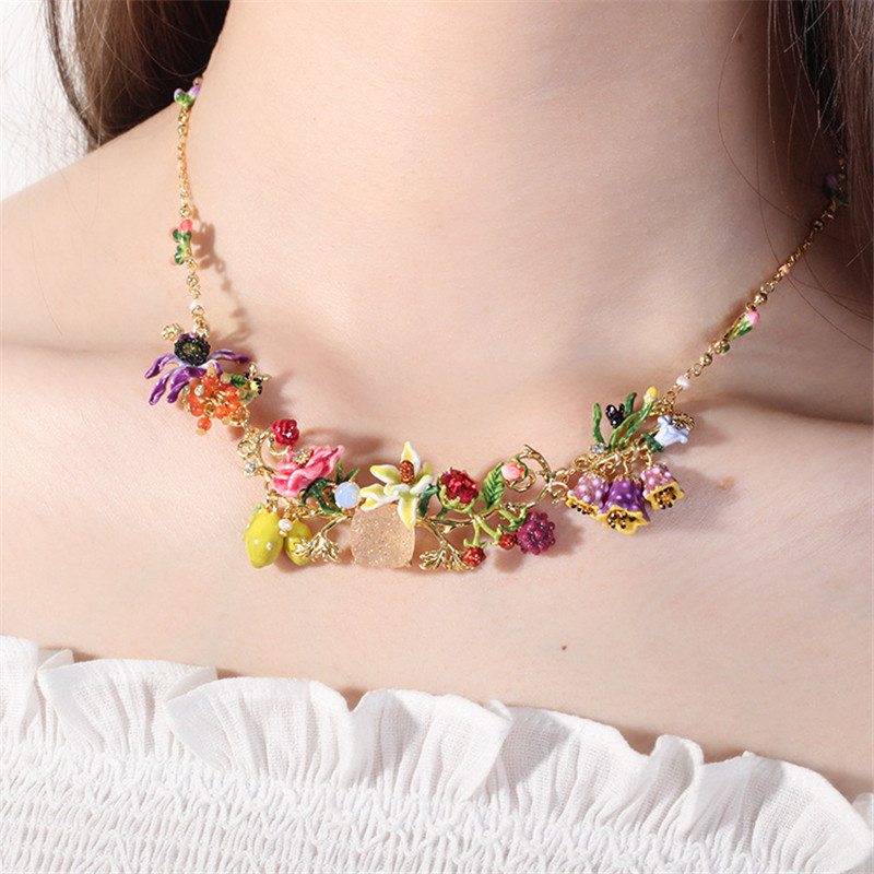 Warmhome Trendy Jewelry Enamel Glaze Fashion Various Rose Flower Gem For Women Necklace цена