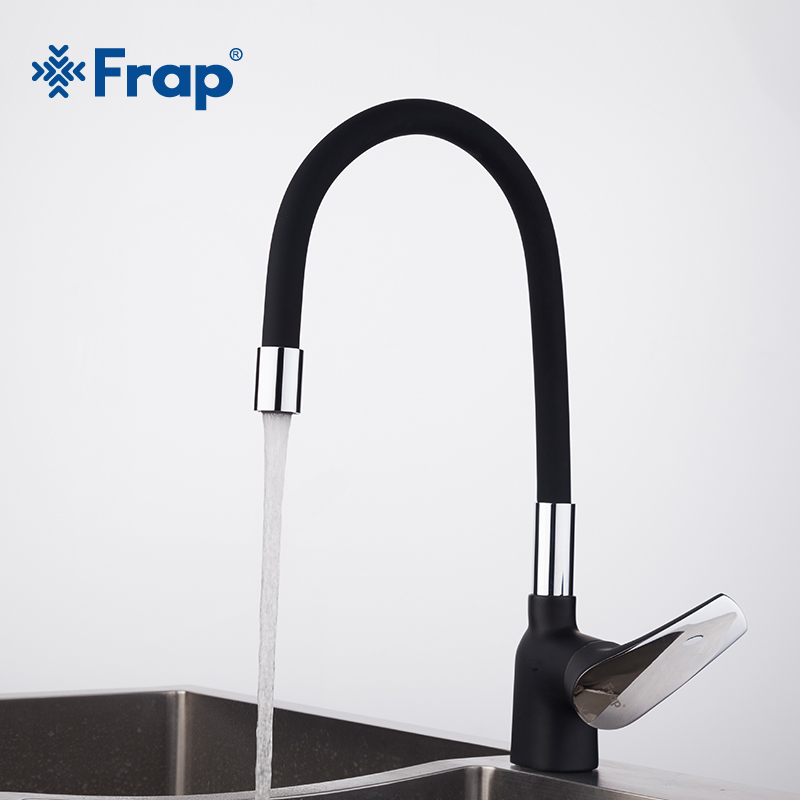 Frap Business Style Black Silica Gel Nose Any Direction Kitchen Faucet Cold And Hot Water Mixer Torneira Cozinha Crane F4453-04