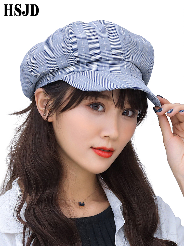 2fc868adf6514 2019 New Fashion Casual Plaid Octagonal Hat Women Spring Summer Lattice  Berets Newsboy Hat Female Flat
