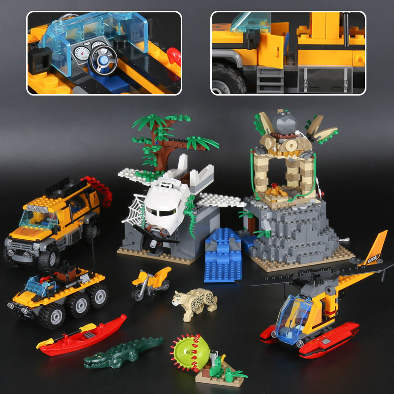 Lepin 02061 Genuine 870Pcs City Series The Jungle Exploration Site Set 60161 Building Blocks Bricks boys girls legoINGlys gift lepin 02061 genuine city series the jungle exploration site set 60161 building blocks bricks christmas gift for children 870pcs