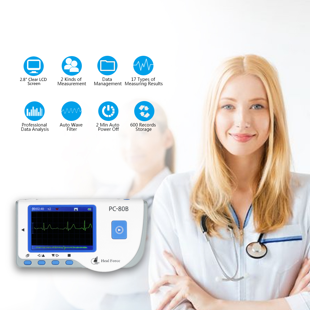 ECG EKG Monitor Machine Medical Portable Heart Rate Monitor with USB Cable Adhesive Electrode Lead Wires
