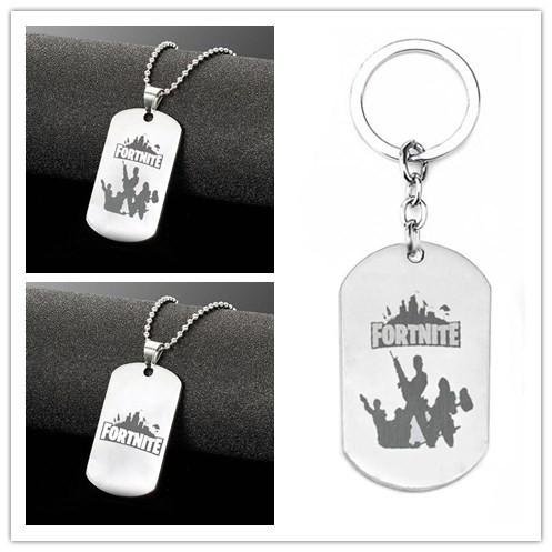 10pcs Free post Stainless Steel Pendant Hot&Classic FPS Game Fortnite Logo Necklace Keychain Laser Printing Personalized Jewelry