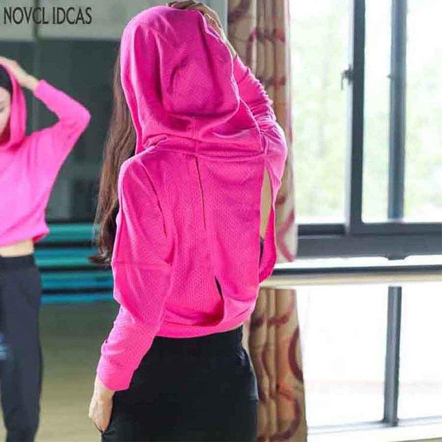 Novedosas ideas mujeres Sudadera con capucha correr Jersey transpirable ropa  deportiva Fitness Yoga Top ropa deportiva abc8b2f7282e1
