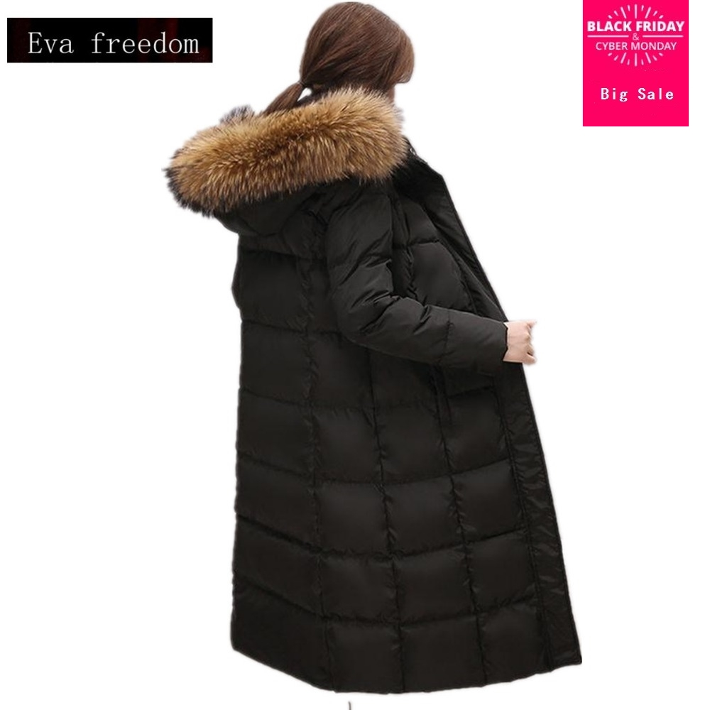 Wholesale manufacturers real Raccoon fur collar   coat   2019 winter Fashion brand 90% white duck   Down   long jacket   coat   wj1012